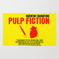 pulp fiction Area & Throw Rugs featuring Pulp Fiction Movie Poster by FunnyFaceArt