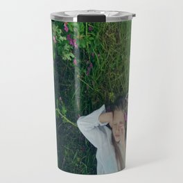 girl laying down in cu meadow Travel Mug