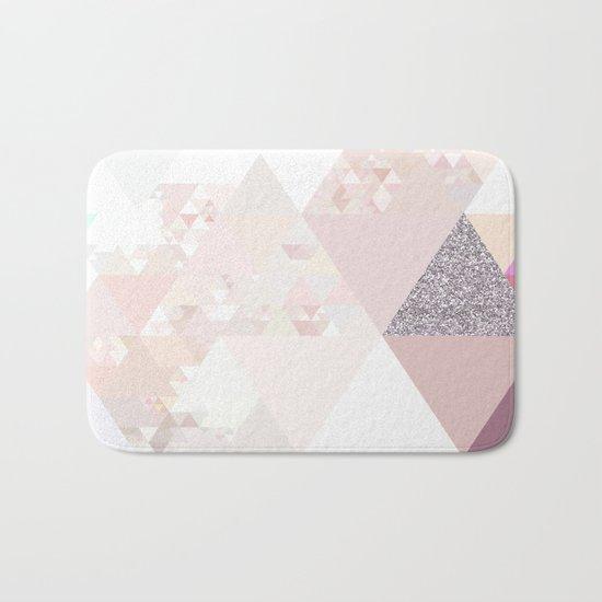 Triangles in glittering Rose quartz - pink glitter triangle pattern Bath Mat