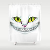 cheshire cat Shower Curtains featuring Cheshire  by Alice Of Wonderland