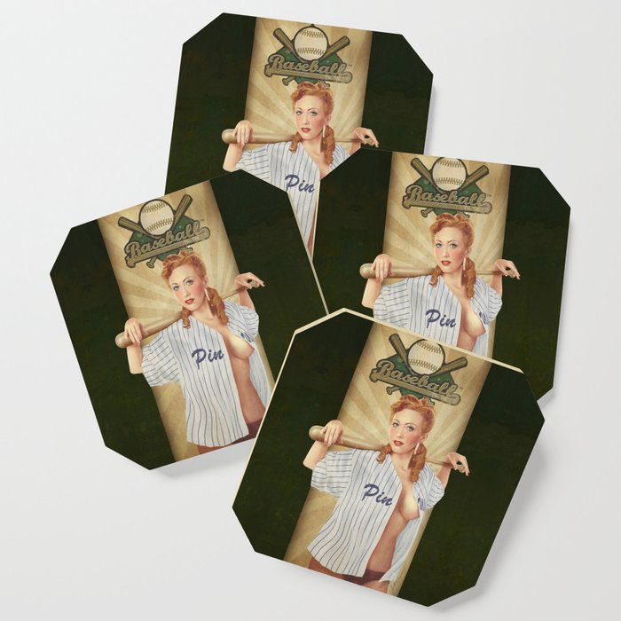 VINTAGE GIRLS - Baseball Coaster