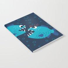 Gossiping Blue Piranha Fish Notebook