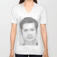 brad pitt V-neck T-shirts featuring Brad Pitt by Feroz Bukht