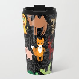 Set of funny cartoon animals character on  black seamless background. zoo. Travel Mug