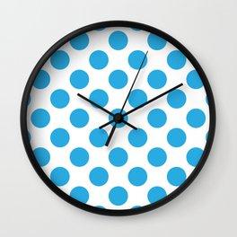 Blue Large Polka Dots Pattern Wall Clock