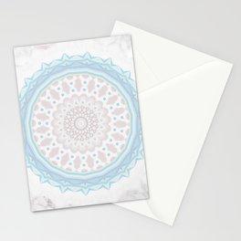 Pastel BabyBlue Pink Marble Manadala Stationery Cards