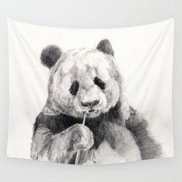 Panda black white Wall Tapestry