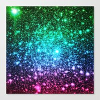 glitter Canvas Prints featuring glitter Cool Tone Ombre by 2sweet4words Designs