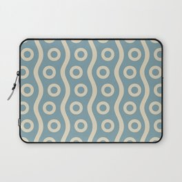 Mid Century Modern Rising Bubbles Pattern 2 Blue and Cream Laptop Sleeve
