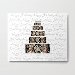 Black and Rose Gold Mandala Birthday Cake and Candles Metal Print