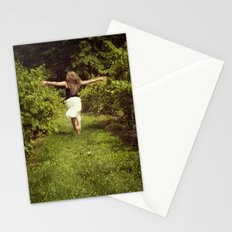 Young woman running through a vineyard Stationery Cards