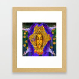 PURPLE MORNING GLORY GOLDEN BUDDHA FACE Framed Art Print