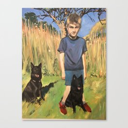 Boy and his dogs Canvas Print