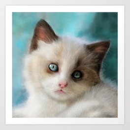 The Blue Kitten Art Print