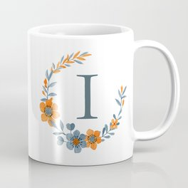 Monogram I Orange Autumn Floral Wreath Coffee Mug