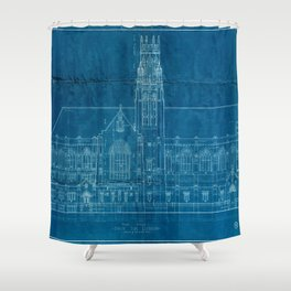 Church Elevation Blueprint Shower Curtain