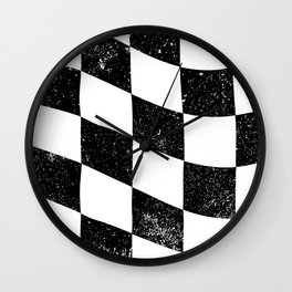 Grunged Chequered Flag Wall Clock