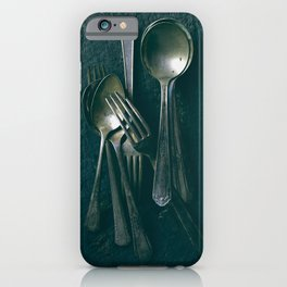 Beautiful Vintage Spoons on Black iPhone Case