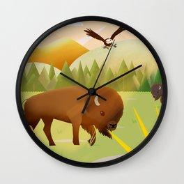 Bisons on the Range Wall Clock