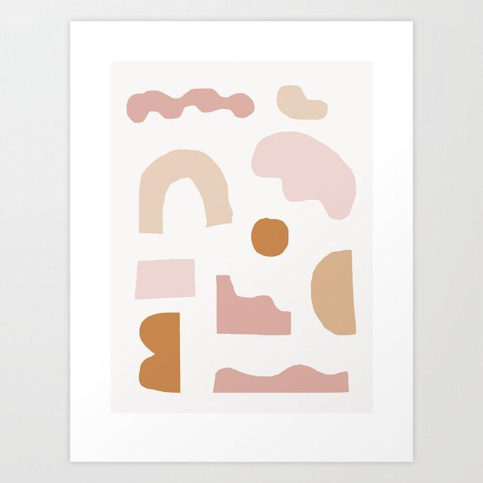 Rhode Modern Minimalist Earthtone Art Print Geometric Wall By Oliviastjames