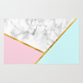 Geometric marble with gold leaf, pink and blue Rug