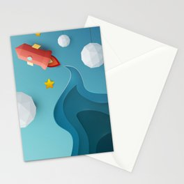 Flying red rocket in space with planet, stars. Science concept inspiration Stationery Cards