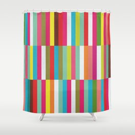 Bright Colorful Stripes Pattern - Pink, Green, Summer Spring Abstract Design by Shower Curtain
