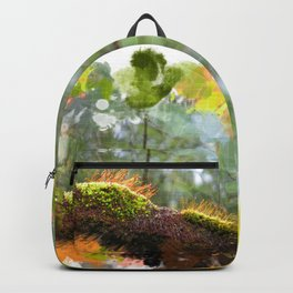 Beautiful abstract painted rain forest moss Backpack