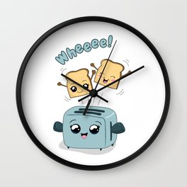 Cute Kawaii Toast and Toaster Wall Clock