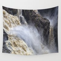 mandie manzano Wall Tapestries featuring Raging thunder of the waterfall by Wendy Townrow