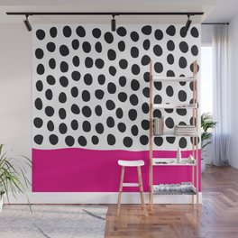 Modern Handpainted Polka Dots with Pink Wall Mural