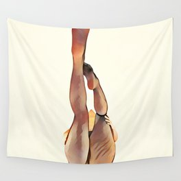 8283s-SLG Legs Up Woman in Mesh Stockings Watercolor Render Wall Tapestry