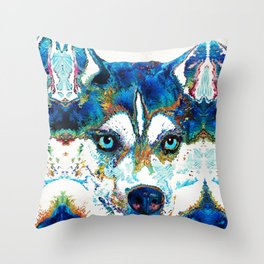 Colorful Husky Dog Art by Sharon Cummings Throw Pillow