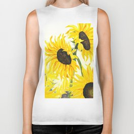 sunflower watercolor 2017 Biker Tank