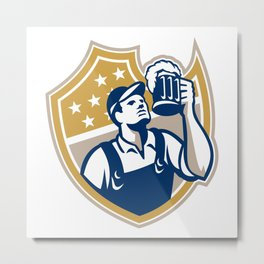 Barman Bartender Beer Mug Retro Metal Print