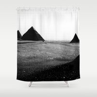 egypt Shower Curtains featuring Egypt, Pyramids by DLS Design