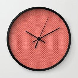 Salmon Pink Scales Pattern Wall Clock