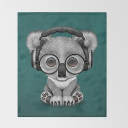 Cute Baby Koala Bear Dj Wearing Headphones on Blue Throw Blanket