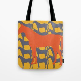 Orange Graphic Horse on Yellow by Ron Brick Tote Bag