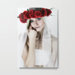 woman with a rose crown ll. Metal Print