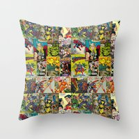 comic book Throw Pillows featuring COMIC by Vickn