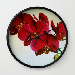 Red Orchid Wall Clock