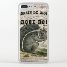 french country scripts fall autumn woodland animal grey squirrel Clear iPhone Case