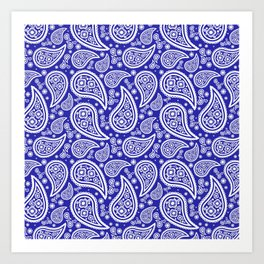 Paisley (White & Navy Blue Pattern) Art Print