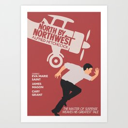 North by northwest, Alfred Hitchcock minimalist movie poster, thriller, Cary Grant, Eva Marie Saint Art Print