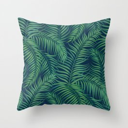 Night tropical palm leaves Throw Pillow