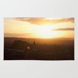 Salisbury Crags overlooking Edinburgh at sunset 3 Rug