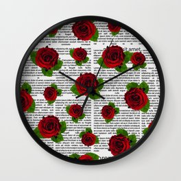 Rose Neck Gator Newspaper Newsprint Roses Wall Clock