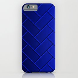 Herringbone Gradient Dark Blue iPhone Case