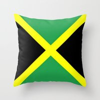 jamaica Throw Pillows featuring Jamaica Flag by Barrier Style & Design